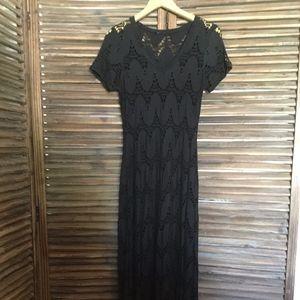 Casadei long black stretchy lace maxi dress